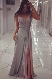 grey chiffon beaded prom dress with slit long formal dresses