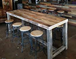 high top table and stools reclaimed wood bar restaurant counter community rustic custom
