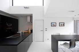 modern white concrete wall modern french doors interiorwith grey