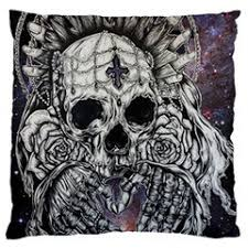 tattoo home decor gothic galaxy print skull pillow case cover 20 by 20 cushion
