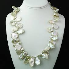 white pearl necklace designs images Matinee length white iridescent keshi pearl necklace for sale at JPG