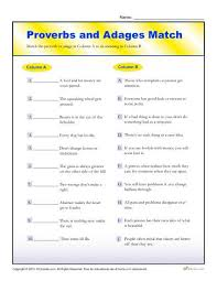 proverbs and adages match worksheet for 4th and 5th grade