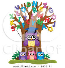 clipart of a professor owl and students in an alphabet tree