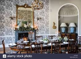 dining room with glass and gilt chandelier from jfm interiors