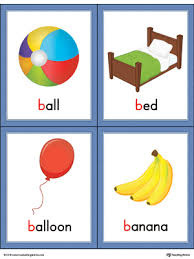 letter words pictures printable cards ball bed balloon