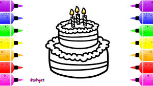 birthday cake coloring page with beautiful candles for baby u0026 cute