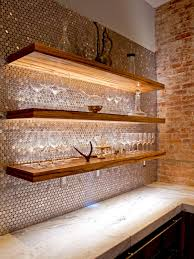 backsplashes metalic backsplash wood open shelves brick wall