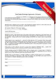 free printable real estate brokerage agreement exclusive sample
