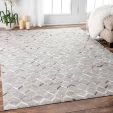 Discount Area Rugs 8 X 10 Nuloom Handmade Modern Keyhole Trellis Leather Viscose Grey Rug