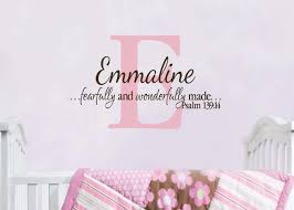monogram wall decals for nursery psalm 139 14 personalized monogram with name i am fearfully