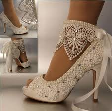 satin lace and pearl bridal shoes at bling brides bouquet online