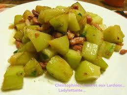 cuisiner christophine christophines sautées aux lardons ladylettante