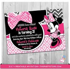 minnie mouse birthday invitation printable girls by thepartystork
