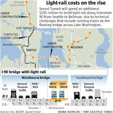 Seattle Rail Map by Price Tag Zooms Up For Light Rail Across I 90 Bridge 225 Million