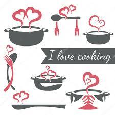 j aime cuisiner j aime cuisiner ensemble de vecteur d éléments de cuisine image