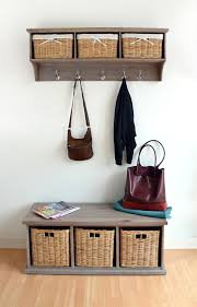 Bench With Storage Baskets by Acacia Hallway Bench With Wicker Baskets Quality Assembled Large