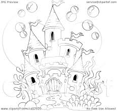 clipart of a black and white castle under the sea or in a fish