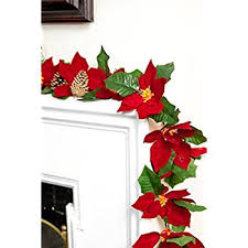 cordless lighted poinsettia garland home kitchen