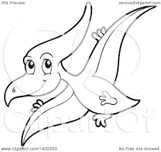 clipart of a black and white lineart flying pterodactyl dinosaur