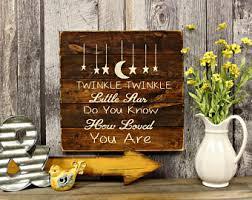 Twinkle Little Star Nursery Decor Twinkle Twinkle Little Star Wood Sign Starfish Nursery
