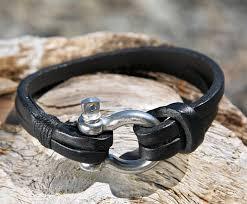 omega bracelet images Black leather bracelet with a nautical omega shackle clasp jpg