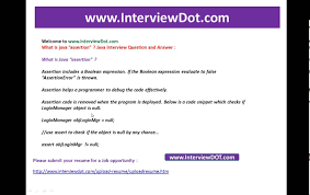 what is java assertion job java inteview question and answer youtube