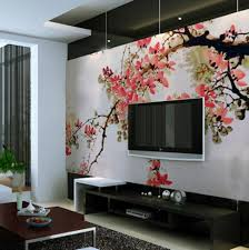 living room beautiful modern red abstract wall mural surripui net interior design styles chinese cherry blossom wall murals with large size