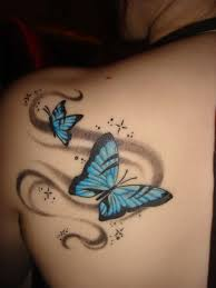 3d girly butterfly tattoo on side back real photo pictures