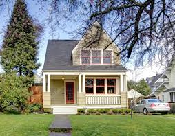 Small House Style Green Small House With Porch And Car U2014 Stock Photo Iriana88w