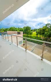 perspective modern glass steel balcony deck stock photo 388973842