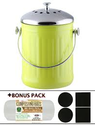kitchen maestro 1 gallon counter top stainless steel compost bin