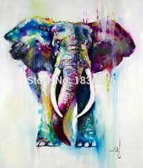 hand painted abstract elephant oil painting on canvas modern texture palette knife art 1 piece home
