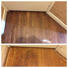 oak floor refinished before and after sanded out water