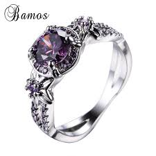 aliexpress buy anniversary 18k white gold filled 4 bamos vintage flower jewelry purple zircon rings for