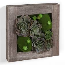 Wall Mount Planter by Rustic Wood Framed Artificial Succulent Planter Hanging Wall Art