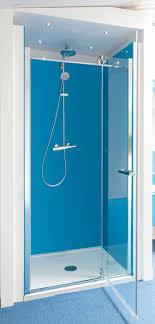 Bathrooms With Glass Shower Walls  Glass Splashbacks - Blue bathroom 2