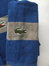 Lacoste Bathroom Set New Lacoste Large Stripe Bath Towels 3 Pc Set Bath Hand Wash Cloth