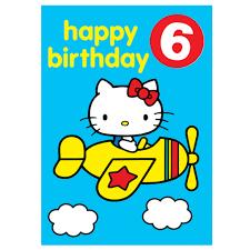 hello kitty age 6 badge birthday card at flamingo gifts