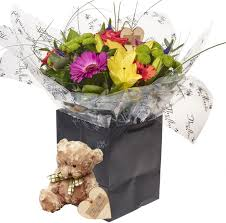 fresh flowers beautiful brights bouquets flower gift with teddy