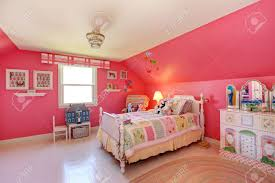 girlsroom beautiful girls room in bright pink color with carved wood bed