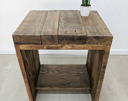 rustic wood side table bedside table etsy