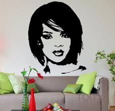 compare prices on wall mural pop art online shopping buy low rihanna head wall decal pop music singer vinyl sticker celebrity art decor bar studio club restaurant