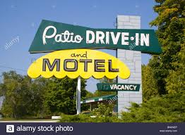 Patio Motel Patio Drive In And Motel Sign In Sister Bay Wisconsin Stock Photo