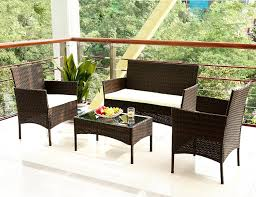 Bali Rattan Garden Furniture by Amazon Com Merax 4 Pc Outdoor Garden Rattan Patio Furniture Set