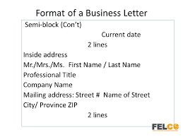 Business Letter Mailing Address Format Lesson 2 Business Letters Parts And Formats Ppt Download
