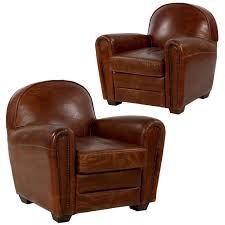 Leather Club Chair Pair Of Art Deco Style Distressed Leather Club Armchairs Late