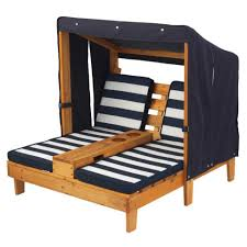 Chaise Lounger Double Chaise Lounge With Cup Holders Honey U0026 Navy
