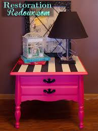 Pink Nightstand Side Table Pink Nightstand With Black And White Stripes Hometalk