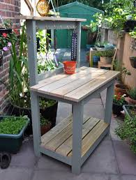 Custom Paint Color Custom Diy Reclaimed Wood Potting Bench With Storage And Hooks