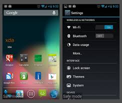 android mode android safe mode